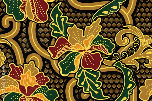 Seamless pattern with floral Illustration, Indonesian batik motif,  Hibiscus vec Canvas Print