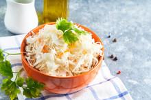Sauerkraut With Seasonings In An Orange Bowl. Natural Probiotics,