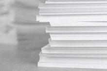 Stack Of Blank White Paper On ...