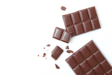 Pieces Of Chocolate Isolated O...