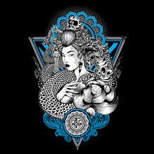 Geisha King Of Nagas Thailand Lotus Tattoo Vector Skull Japan Illustration