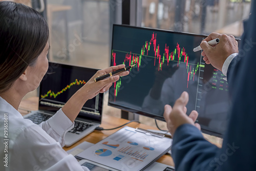 Fototapeta Business team investment trading do this deal on a stock exchange developing new approaches. obraz