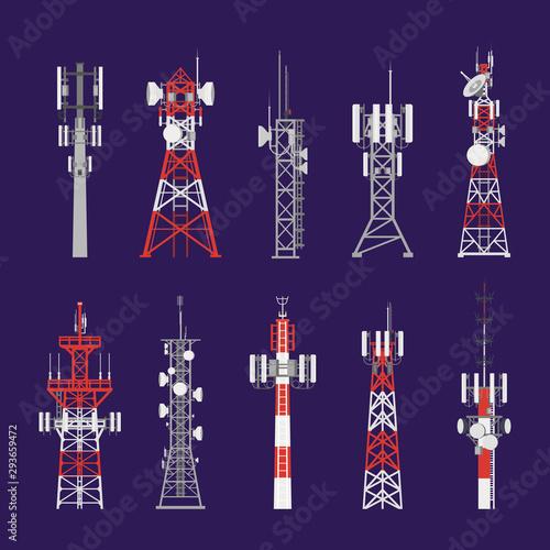 Valokuva Radio towers, telecommunication antenna poles