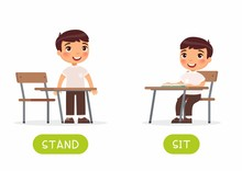 Educational Word Card With Schoolkid Vector Template. Flash Card For Foreign Language With School Student. Opposites Concept, Stand And Sit. Little Schoolboy Flat Illustration With Typography