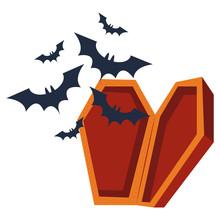 Halloween Bats Flying In Coffin
