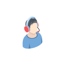 Male Call Center Operator. Vector 3d Isometric, Color Web Icon, New Flat Style. Creative Illustration Design, Idea For Infographics.