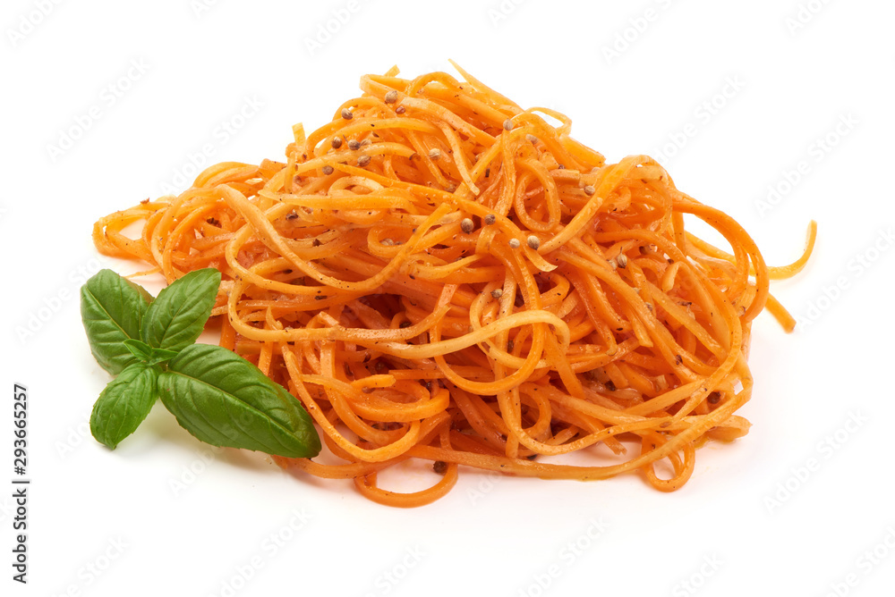 Fototapeta Grated raw carrot. Raw korean asian salad carrots, isolated on white background