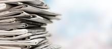 Pile Of Printed Newspapers On ...