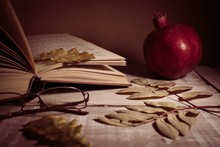 Open Book, Glasses, Pomegranat...