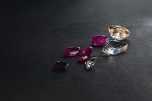 Collection Of Red Ruby And Topaz, Precious Stones For Jewellery On Black Background