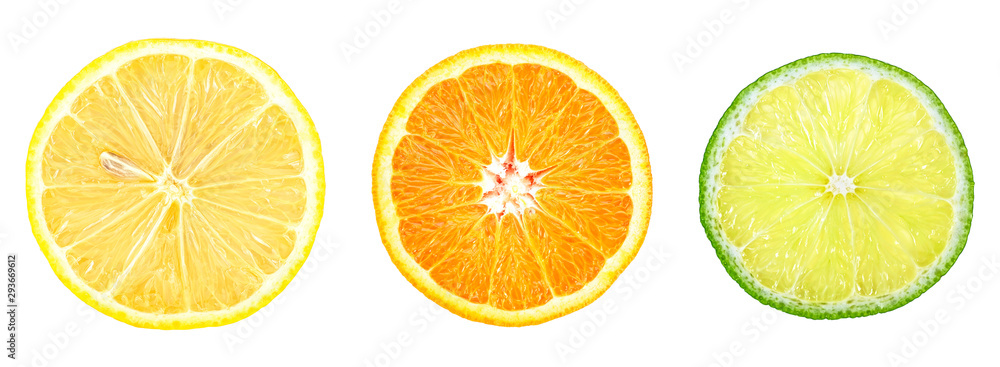 Fototapety, obrazy: Lemon, orange and lime - slices isolated on a white background, top view. Citrus fruit.