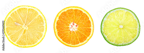 Lemon, orange and lime - slices isolated on a white background, top view. Citrus fruit.