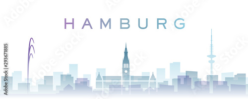 Fotomural  Hamburg Transparent Layers Gradient Landmarks Skyline