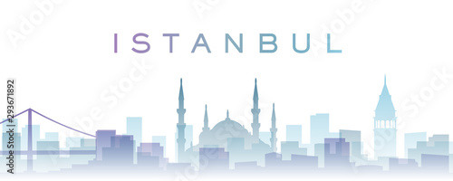 Istanbul Transparent Layers Gradient Landmarks Skyline Canvas Print