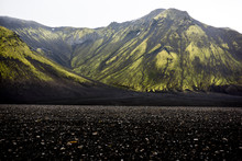 Moss Covered Black Volcanic Mountains Near Langisjor Iceland