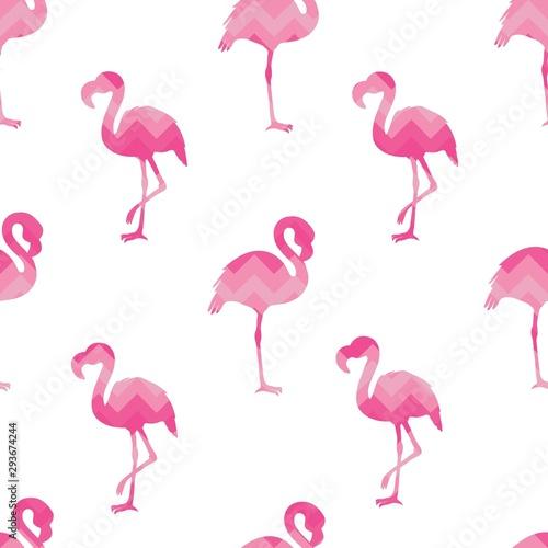 Canvas Prints Flamingo hand drawn flamingo silhouette seamless pattern, summer background