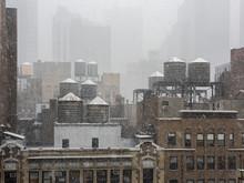 Snowstorm In Midtown Manhattan