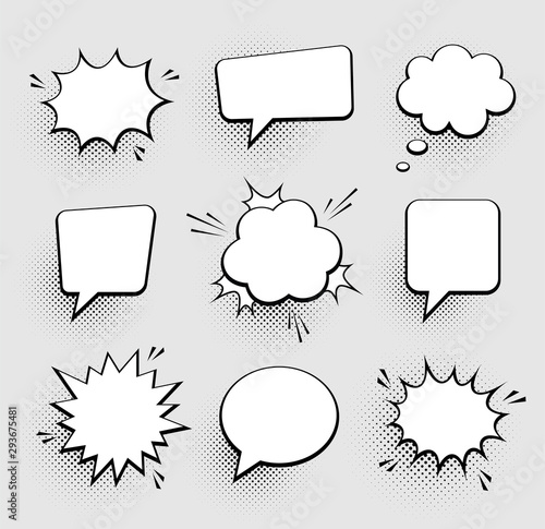 Fotografiet Retro empty comic speech bubbles set with black halftone shadows