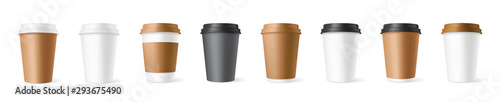 Realistic set paper coffee cups on white background. 3D vector mockup - stock vector.