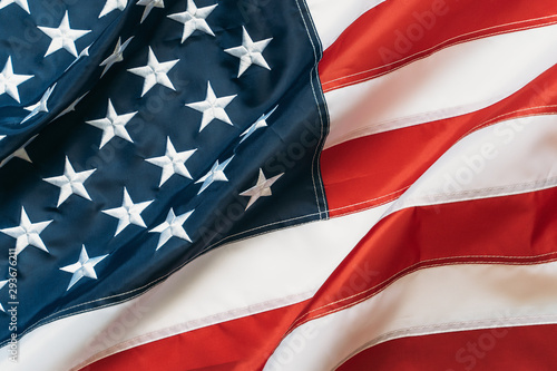 Fotomural  American Flag or United States of America national flag background, close up