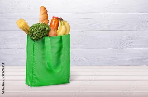 Full shopping  bag, isolated over  background