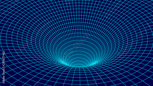 Tunnel or wormhole. Wireframe 3D surface tunnel grid. Canvas Print