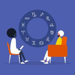Astrologer session. Fortune telling. Zodiacal signs. Horoscope. Flat editable vector illustration, clip art. Psychic. Experience. Flat editable vector illustration, clip art