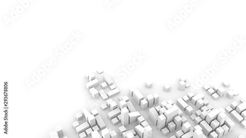 Obraz Modern urban environment, city planning concept. Abstract 3D render on white background. - fototapety do salonu