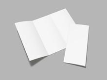 Blank  Flyer Tri Fold Mockup. Realistic Flyer, Booklet  Mock Up On Gray Background.  Vector Illustration.