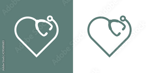 Logotipo con corazón lineal como estetoscopio en gris y blanco