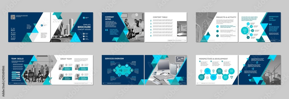 Fototapeta Brochure creative design. Multipurpose template, include cover, back and inside pages. Trendy minimalist flat geometric design. Horizontal landscape a4 format.