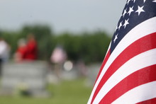 American Flag In A Graveyard On Memorial Day