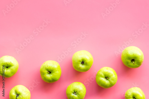 Green apples pattern on pink background top view frame copy space - 293687206