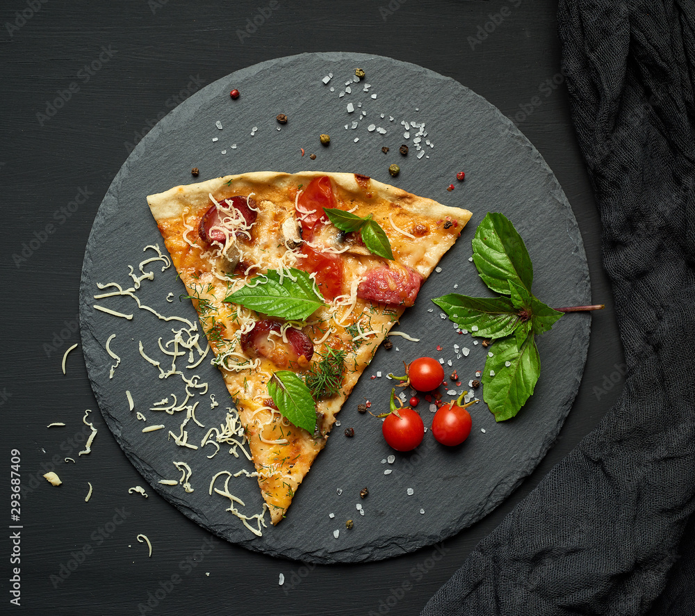 Fototapety, obrazy: delicious triangular slice of pizza with smoked sausages, mushrooms, tomatoes, cheese and basil leaves