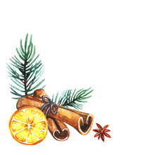 Hand Drawn Watercolor Slice Of Dry Orange With Cinnamon Sticks, Star Anise, Christmas Tree On White Background With Copy Space. Design For Greeting Card, Festive Elements