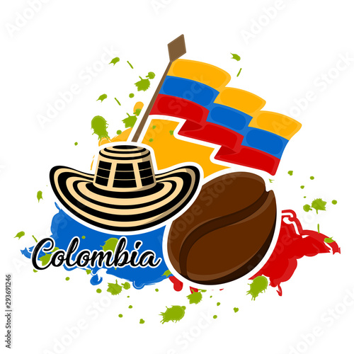 Cuadros en Lienzo  Flag of Colombia, coffee bean and sombrero vueltiao