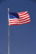 Flag Of The United States, Star Spangled Banner In The Wind.