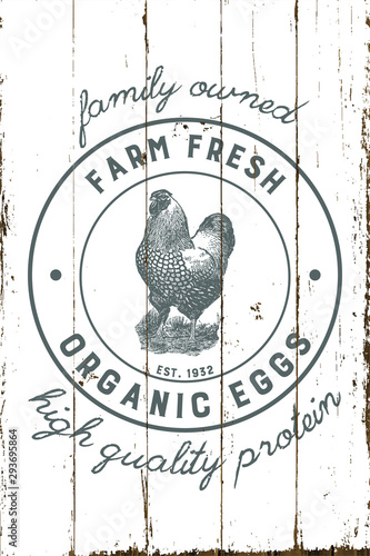 Vintage Farmhouse Organic Eggs Sign with Shiplap Design Canvas