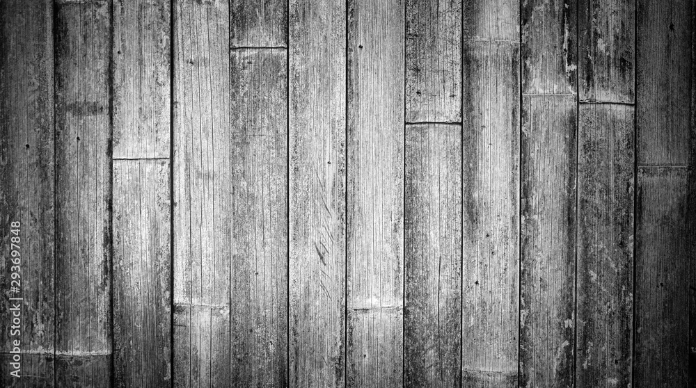 Fototapety, obrazy: Rustic black and white vintage textured wood bamboo background with rough grain. Vertical parallel boards.