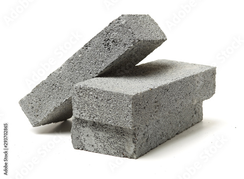 Photographie Gray cement solid brick isolated on a white background