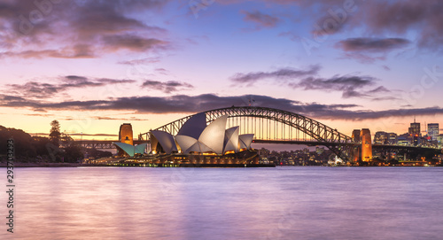Photo Sydney Harbour Skyline and Bridge panorama, NSW, Australia, Oceania, with dramatic colourful light at twilight sundown