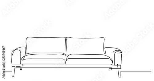 Obraz continuous line drawing of modern style sofa - fototapety do salonu