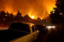 Neighborhood On Fire At Night