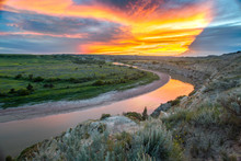 Sunset Over The Little Missouri River And Wind Canyon, Theodore Roosevelt National Park, North Dakota