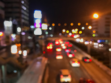 Blur Of Traffic In The City At...