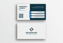 Blue Technology Style Business Card Template, Professional Modern Visiting Card Design