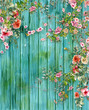 Leinwanddruck Bild - watercolor illustration painting of leaves and flower with painted wood background
