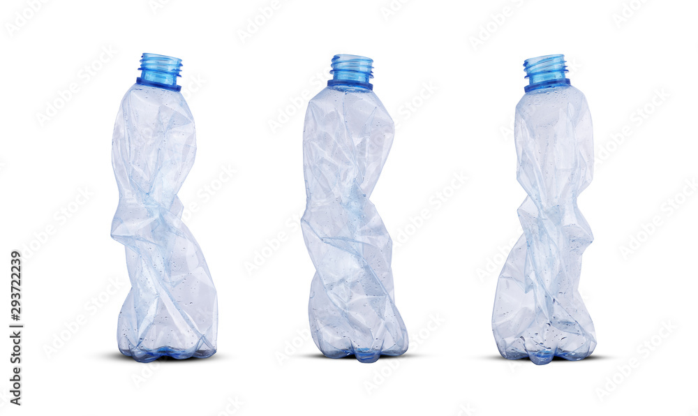 Fototapety, obrazy: three crushed plastic bottles