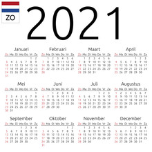 Calendar 2021, Dutch, Sunday