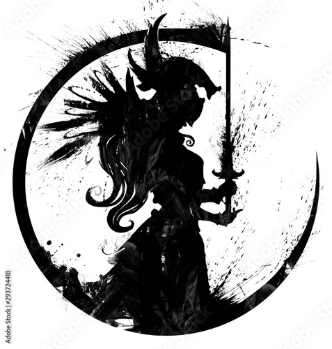 Fotografía A blotted silhouette of a praying Valkyrie with a sword in her hands